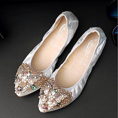 Pentru femei Pantofi PU Vară Confortabili Pantofi Flați Toc Jos Auriu / Negru / Argintiu