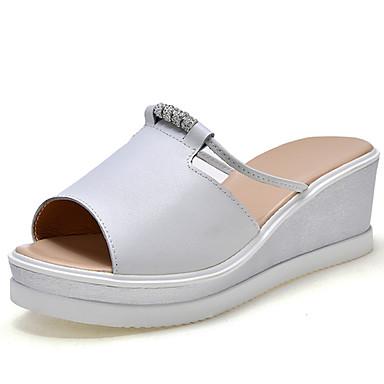 Pentru femei Pantofi Piele Primavara vara Confortabili Papuci & Flip-flops Toc Platformă Alb / Negru / Party & Seară