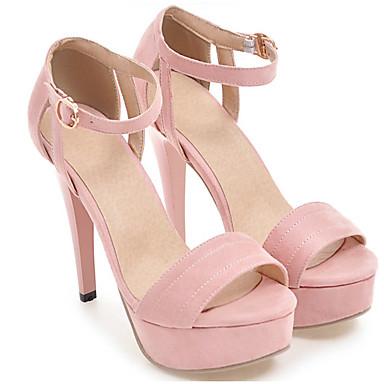 Confort y Noche Stiletto Sandalias 06766477 Ante Rosa Hebilla abierta Tacón Mujer Color Boda Zapatos Verano Camello Fiesta Rojo Punta TWtAAq