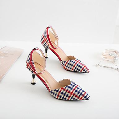 Confort Puntiagudo Dedo Mujer Rojo 06766054 Negro Tacones PU Zapatos Verano Tacón Stiletto 08W8tqB
