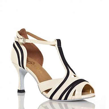 baratos Shall We® Sapatos de Dança-Mulheres Couro Envernizado Sapatos de Dança Latina Recortes Sandália Salto Alto Magro Preto / Bege / Ensaio / Prática