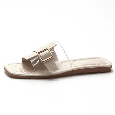 Pentru femei Pantofi PU Vară Pantof cu Berete Papuci & Flip-flops Toc Drept Negru / Bej / Verde