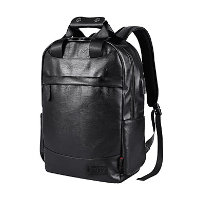 cheap Backpacks-Men's Bags Faux Leather Backpack Zipper Crocodile Black / Coffee