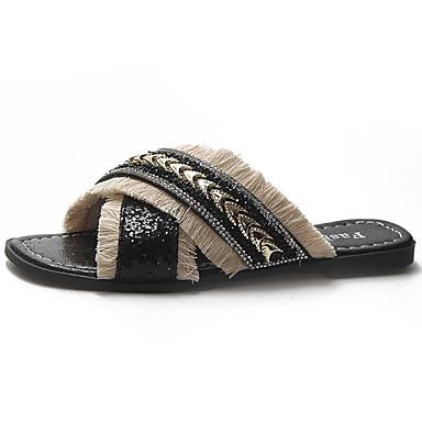 Mujer flip 06725816 Tacón Negro PU redondo Pedrería Zapatillas flops Verano Plateado Plano Confort y Zapatos Dedo rYZAqr