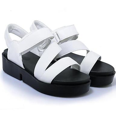 Sandales Chaussures Femme Vert Polyuréthane 06734939 Noir Creepers Bride Blanc ouvert Perle A Arrière été Bout Printemps Boucle BdUdq0