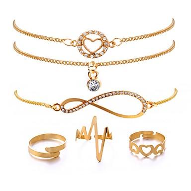 baratos Pulseira de Corrente-6pcs Mulheres Pulseiras em Correntes e Ligações Batida Cardíaca senhoras Clássico Fashion Chapeado Dourado Pulseira de jóias Dourado Para Presente Aniversário