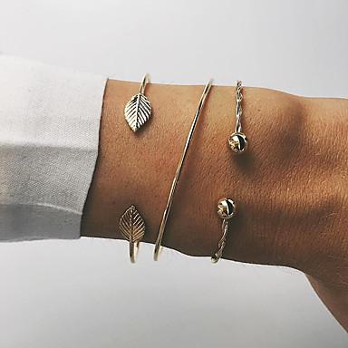 baratos Bangle-3pçs Mulheres Bracelete Pulseiras Algema Multi Camadas Corda Formato de Folha senhoras Simples Punk Na moda Coreano Liga Pulseira de jóias Dourado Para Festa Diário Encontro Rua Bandagem