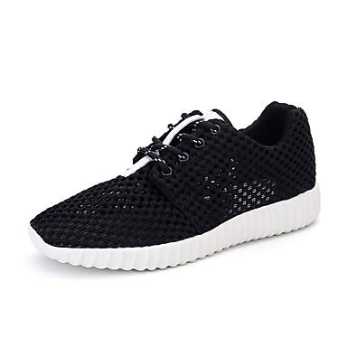 Pentru femei Pantofi Plasă Primavara vara Confortabili Adidași de Atletism Alergare / Plimbare Toc Drept Vârf rotund Alb / Negru