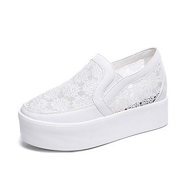 Pentru femei Pantofi PU Vară Confortabili Mocasini & Balerini Creepers Vârf rotund Alb / Negru