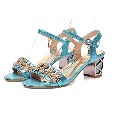 Femme Chaussures Faux Cuir Printemps été s Bride de Cheville  s été Talon Bottier Bout ouvert Boucle Or / Argent / Bleu 06d78c