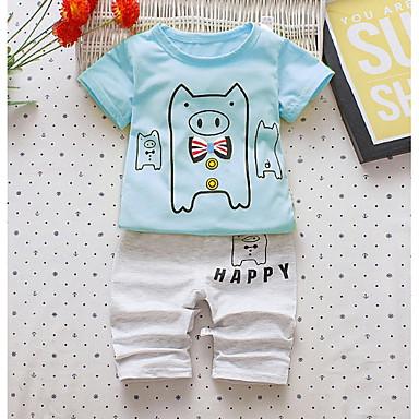 Copil Băieți Imprimeu Manșon scurt Set Îmbrăcăminte