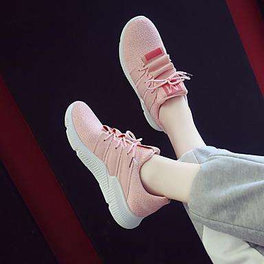 rond Bout Polyuréthane Blanc Confort Rose Talon d'Athlétisme Printemps Chaussures Tricot Femme 06764716 Marche Chaussures été Noir Plat ERPq47S