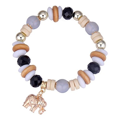 abordables Bracelet-Bracelet à Perles Femme Tanzanite synthétique Bordeaux Eléphant dames Mode Bracelet Bijoux Café Rouge Bleu Forme de Cercle pour Cérémonie Rendez-vous