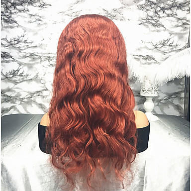 cheap Human Hair Wigs-Remy Human Hair Lace Front Wig style Peruvian Hair Wavy Body Wave Wig 130% Density with Baby Hair Natural Hairline Bleached Knots Women's Long Human Hair Lace Wig beikashang