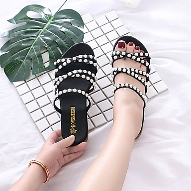 Verano Tacón Plano Confort Zapatillas flops 06725831 y Negro Pedrería PU Mujer flip redondo Zapatos Dedo Rosa aqzx8wE