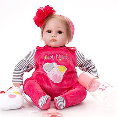 FeelWind Păpuși Renăscute Bebe Fetiță 16 inch natural Confecționat Manual Siguranță Copii Non Toxic Interacțiunea părinte-copil Mâna înrădăcinată Mohair Lui Kid Fete Jucarii Cadou