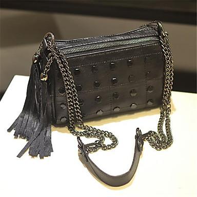 Pentru femei Genți PU Umăr Bag Franjuri Negru