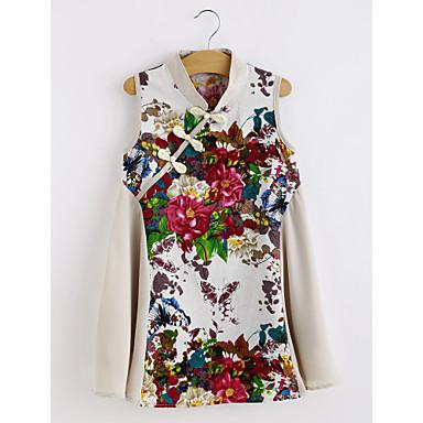 お買い得  女児 ドレス-子供 女の子 フローラル 日常 ソリッド フラワー ノースリーブ コットン レーヨン ドレス ベージュ