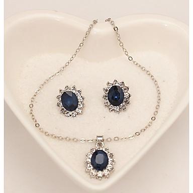 Pentru femei Sapphire sintetic Set bijuterii - Fulg Clasic, Modă Include Cercei Stud Lănțișor Albastru Închis Pentru Zilnic Oficial / Σκουλαρίκια