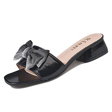 Pentru femei Pantofi PU Vară Confortabili Sandale Toc Jos Vârf pătrat Funde Negru / Bej / Migdală