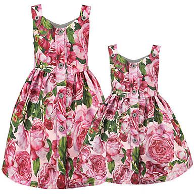 Adulți Mama și cu mine De Bază Floral Fără manșon Rochie