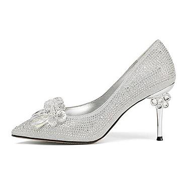 06766405 Printemps Aiguille Talon Femme Or synthétique ouvert Bout Chaussures Matière Argent Chaussures Confort à Talons 6zqtC