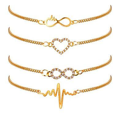 baratos Pulseira de Corrente-4pçs Mulheres Pulseiras em Correntes e Ligações Coração Batida Cardíaca senhoras Clássico Fashion Chapeado Dourado Pulseira de jóias Dourado Para Diário Escritório e Carreira