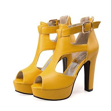 hesapli Kadın Sandaletleri-Kadın's Sandaletler Parti topukları Kalın Topuk Burnu Açık Toka PU Temel Topuklu Yaz / Sonbahar Kış Beyaz / Siyah / Sarı / Parti ve Gece / Parti ve Gece