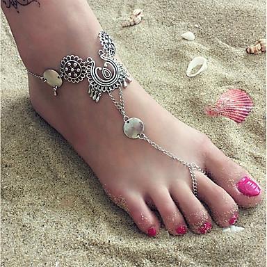 levne Dámské šperky-Dámské Yalınayak Sandaletleri Silný řetězec dámy Evropský Bikini Nákotník Šperky Stříbrná Pro Denní Bikini