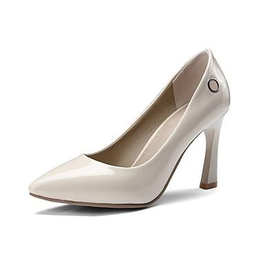 Pentru femei Pantofi PU Primavara vara Balerini Basic Tocuri Toc Îndesat Vârf ascuțit Negru / Bej / Rosu