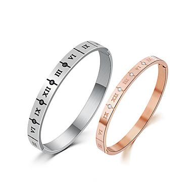 e039ea20b79b Муж. Цирконий Браслет цельное кольцо - Розовое золото Простой, корейский,  Мода Браслеты Бижутерия