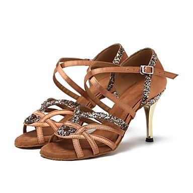 baratos Sapatos de Samba-Mulheres Cetim Sapatos de Dança Latina / Sapatos de Dança Moderna / Sapatos de Samba Lantejoulas Têni Salto Alto Magro Preto / Castanho Escuro