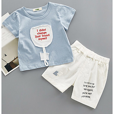 Bebelus Băieți De Bază Imprimeu Manșon scurt Bumbac Set Îmbrăcăminte / Copil