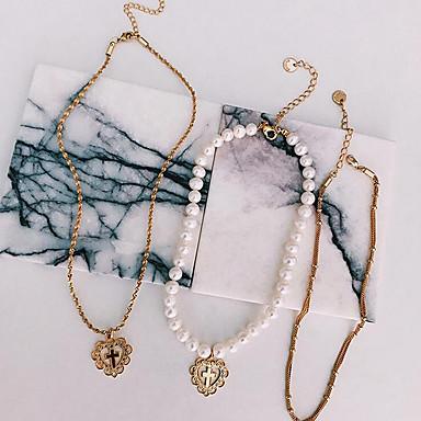 Pentru femei Apă dulce Pearl Coliere Choker - Apă dulce Pearl Inimă Natură, European, Modă Alb 42 cm Coliere Bijuterii 3pcs Pentru Zilnic, Dată