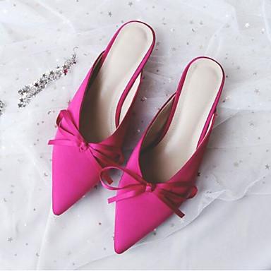 Bout Noir Chaussures fermé amp; Femme Talon Fuchsia Eté Sabot 06770291 Satin Aiguille Mules Confort RUnxqgwnz