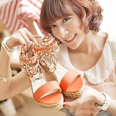 de Orange 06754396 Bleu Hauteur Blanc semelle Polyuréthane Femme Sandales Eté compensée Chaussures Confort vwx7YP