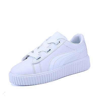 Women's PU(Polyurethane) Spring / Fall Comfort Toe Sneakers Flat Heel Closed Toe Comfort White / Black 174876