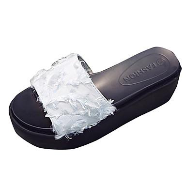 Pentru femei Croșet / Pânză Vară Pantof cu Berete Papuci & Flip-flops Creepers Alb / Negru / Roz