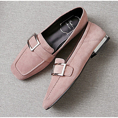 Daim carré Noir Chaussures Chaussons Femme Printemps Eté Mocassins Rose et Plat Marron Bout Moccasin D6148 06766435 Talon qO757wd
