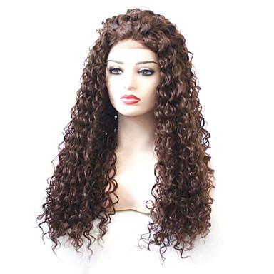 Lănțișoare frontale din sintetice Buclat Frizură în Straturi 180% Human Densitate par Păr Sintetic Cu părul copiilor / Rezistent la Căldură / Elastic Maro Perucă Pentru femei Lung Față din Dantelă