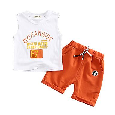 Bebelus Unisex Activ Zilnic Geometric Fără manșon Scurt Bumbac / Poliester Set Îmbrăcăminte Trifoi 100