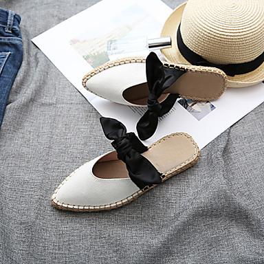 Bout Talon Blanc Eté Mules Femme amp; Sabot A 06720278 Noeud Arrière Plat Toile Bride Chaussures pointu PxwH1Sq