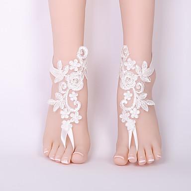 Sandale Desculț - Dantelă Floare Clasic, Modă Alb Pentru Nuntă Bikini Pentru femei