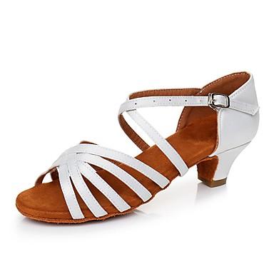 baratos Shall We® Sapatos de Dança-Mulheres Cetim Sapatos de Dança Latina Salto Salto Grosso Personalizável Branco / Preto / Leopardo / Couro / EU37