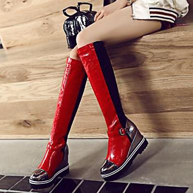 voordelige Dameslaarzen-Dames Laarzen Sleehak Ronde Teen Gesp PU Knielaarzen Modieuze laarzen Herfst winter Zwart / Donker Grijs / Rood / Kleurenblok