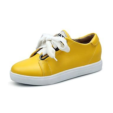 Pentru femei Pantofi Imitație Piele Primavara vara Confortabili Oxfords Toc Drept Vârf rotund Negru / Galben / Roz