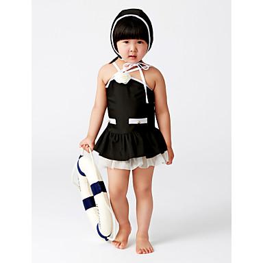 فتيات كشكش سادة بقع ملابس السباحة, قطن أبيض أسود