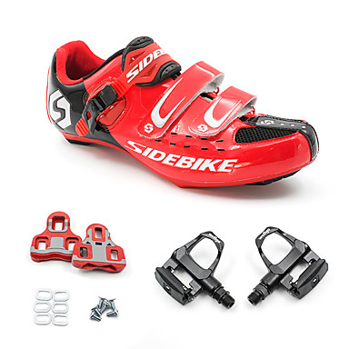 SIDEBIKE Adulto Zapatillas de ciclismo con pedal y cala / Calzado para Bicicleta de Carretera Fibra de Carbono Amortización Ciclismo Rojo / negro Hombre