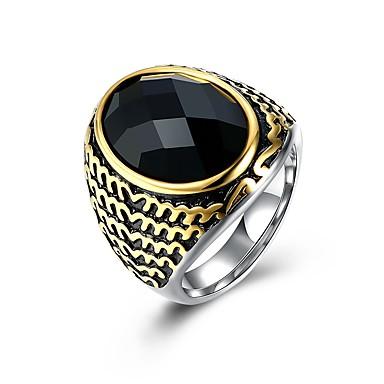 1 buc MPL Cool Argintiu / Bărbați / Sapphire sintetic / Band Ring / inox / Oțel titan