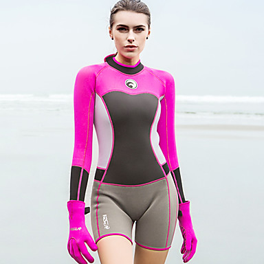 1ac1ae178f HISEA® Women s Shorty Wetsuit 1.5mm SCR Neoprene Diving Suit Stretchy Long  Sleeve Back Zip. cheap Wetsuits ...